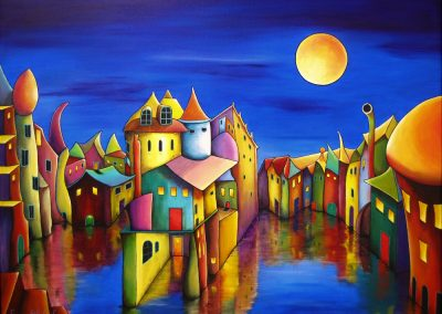 Descend to Safety. Fantasy painting of a village at evening full of colours. The sky is dark blue and the yellow moon is shining on the weird lovely houses which are standing in the water. In some of the houses the light is on. Acrylics on canvas, 80x60cm.