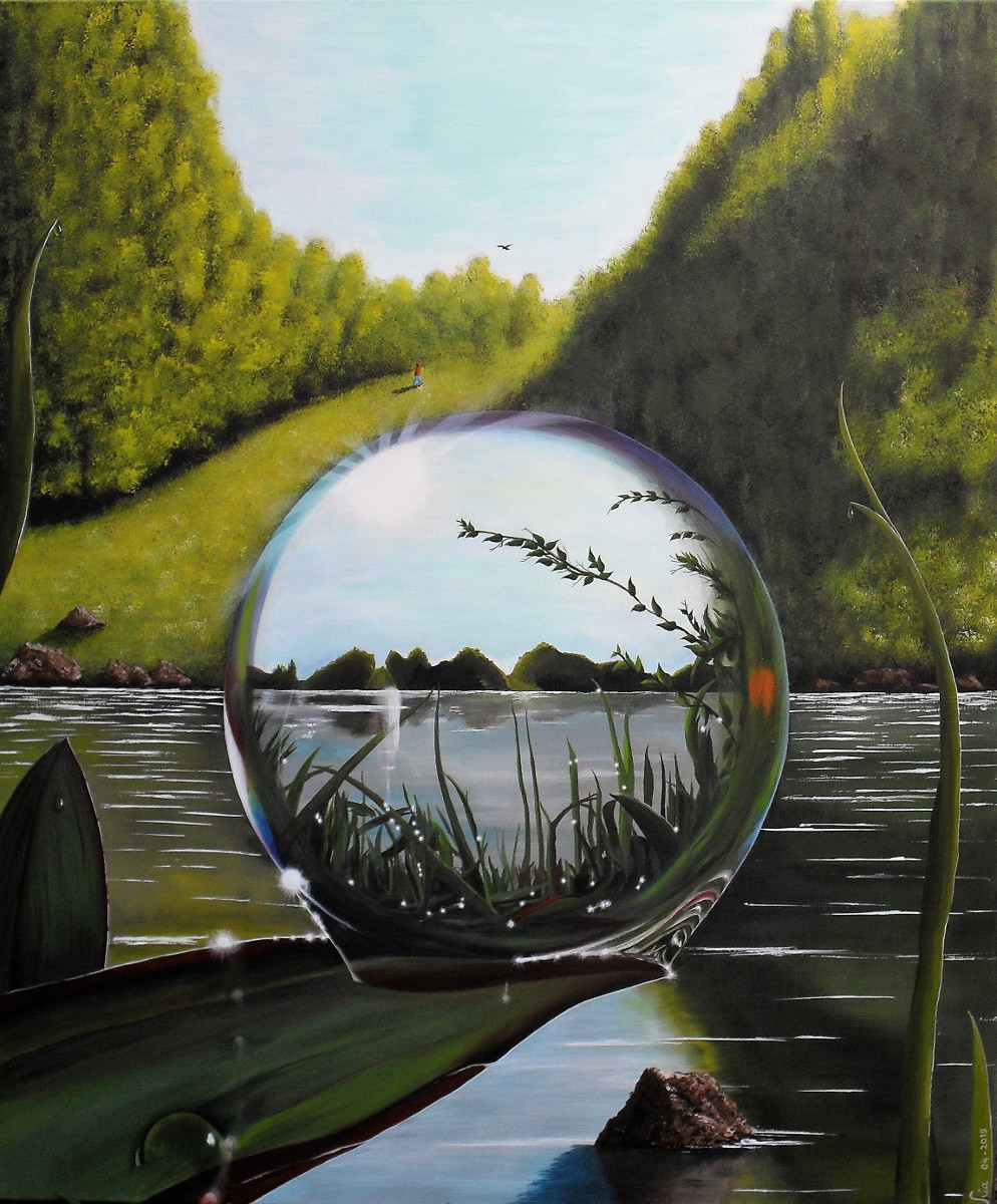 The World in a Droplet realistic painting of a huge droplet in which you can see a part of the world behind. Water mountains and sky. canvas 100x120x4cm.