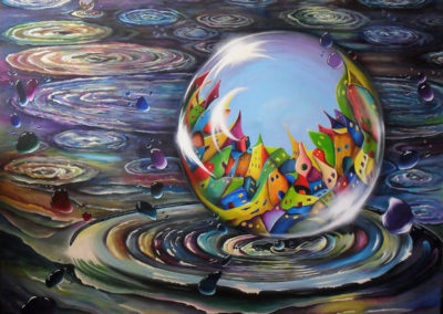Urbe in Orbem. Acrylic Painting about a city in an orb or in a waterbubble. The big drop with the city in it is coming out of a water circle, all around are little waterdrops with highlights. The painting is very colourful especially the city. In the back you see another drop with a city in it splashing out of the water. 160x140cm. by Lia van Elffenbrinck. Made for the exhibition in De Fundatie in Zwolle, The Netherlands
