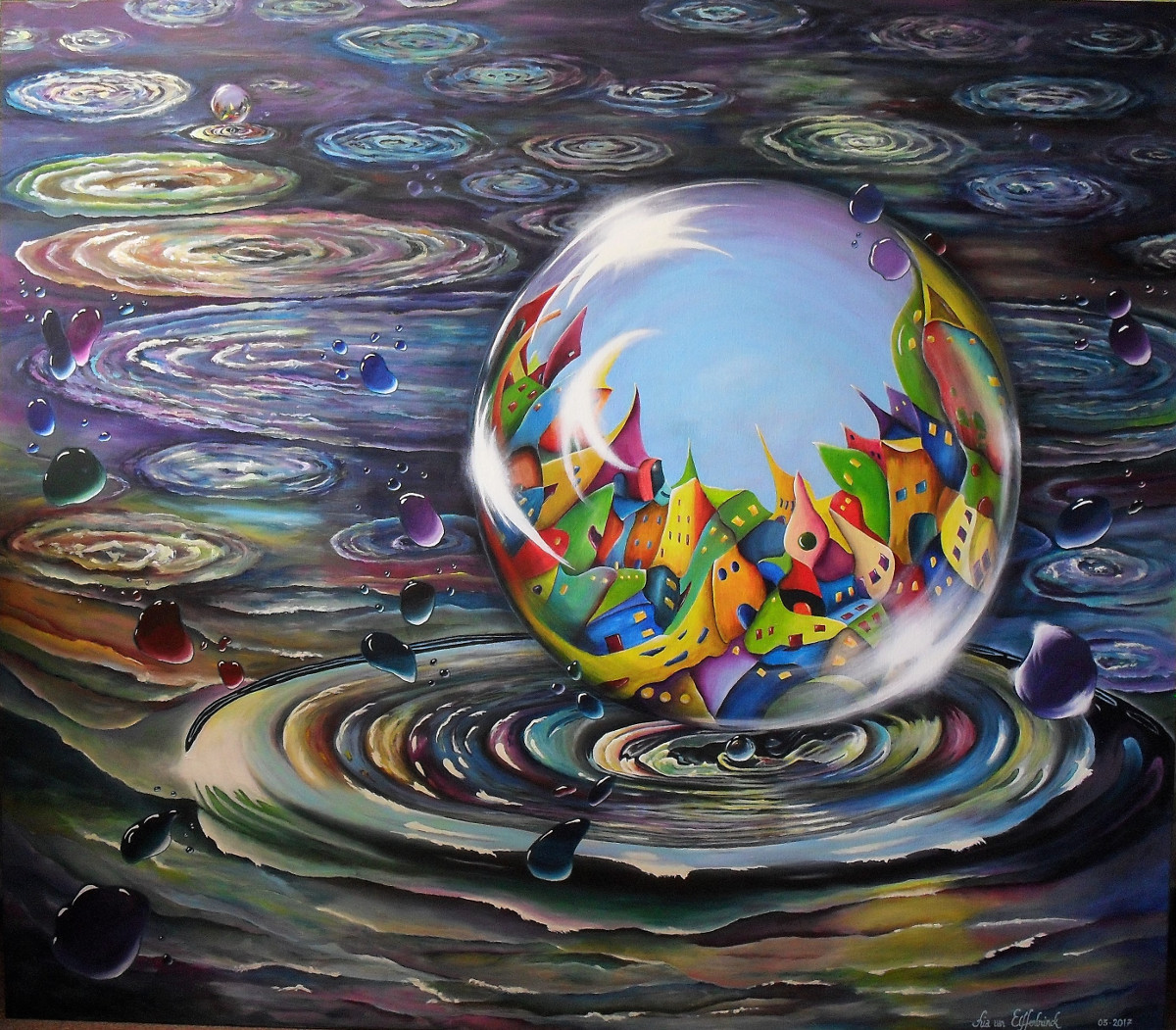 Urbe in Orbem. Acrylic Painting about a city in an orb or in a waterbubble. The big drop with the city in it is coming out of a water circle, all around are little waterdrops with highlights. The painting is very colourful especially the city. In the back you see another drop with a city in it splashing out of the water. Made for the exhibition in De Fundatie in Zwolle, The Netherlands