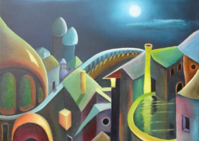 Arabian Nights oil painting by Lia van Elffenbrinck, colourful city at night with moonlight and two towers in the background and a bridge to the horizon.