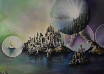 Atlantis resurrected, green purple sky, blue green water, inbetween islands with city resurrected out of the water in the sky and on the water are big air bubbles with cities and a sailboat in it. Some big stairs are coming out of the bubbles reaching to the Islands. Acrylics on canvas. 90x70cm. Lia van Elffenbrinck artist