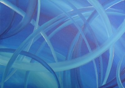 Blue Shapes Acrylic painting on canvas, 40x30cm. Shades and round shapes blue in blue by Lia van Elffenbrinck