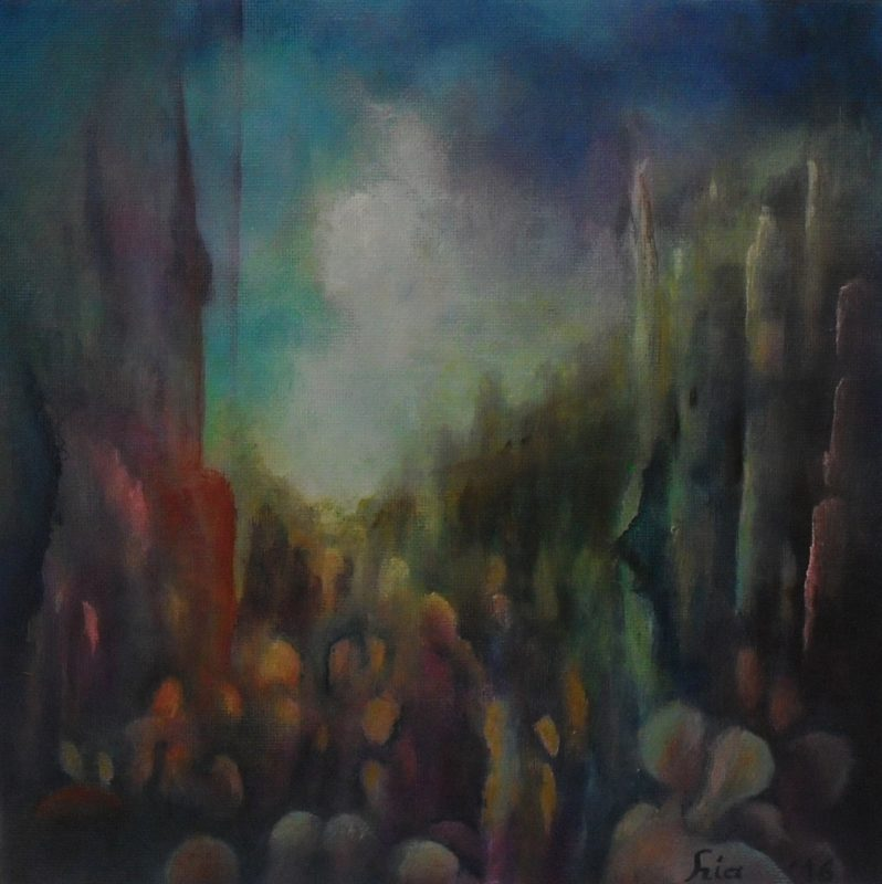 For Annett colorful abstract painting of many people in a busy street inbetween of high buildings and rocks on canvasboard 25x25cm. by Lia van Elffenbrinck