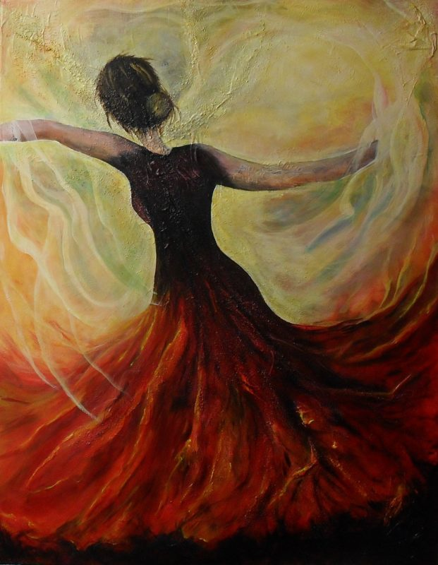 Firedance figurative painting of a dancing woman. She is wearing a red with black dress. The red tones on the skirt look like flames as if she dances in a fire, canvas 70x90cm. by Lia van Elffenbrinck
