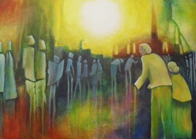 Going to Church Colourful abstract painting about an older man and his wife and many others on a sunday morning on their way to church. The sun is shining very bright above the church.on canvas 100x50cm. by Lia van Elffenbrinck
