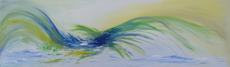 Wave Painting of just a movement, nothing more, only a wave in green blue and yellow on a white background, canvas 100x30cm.