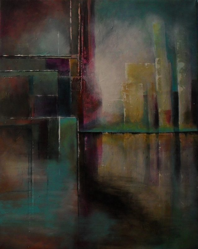 Horizon, colourful abstract angular painting with lines and shapes you can see a turquoise horizon in front of high buildings 40x50cm. by Lia van Elffenbrinck