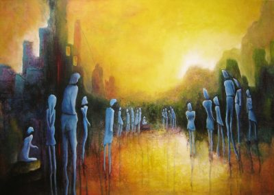 Just Waiting. In the centre of the painting you see a child sitting on a stone. About twenty blue people are looking at him waiting for what he will do. In the background you see buildings and mountains. The colors in tis painting are yellow, orange, blue, green and purple. It's an acrylic painting on canvas, 70x50cm.