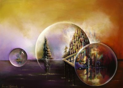 Leaving Town, Everything on this painting is about leaving: ships are sailing on a purple sea. In a town a girl is waving goodbye to a leaving car. All seen in three glazing bubbles in an orange and yellow sky. Acrylics on canvas 70x50 cm.