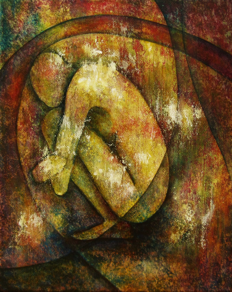 Cautious, painting of a colourful nude female figure. The woman is crouching down looking to the ground, canvas 24x30 cm.