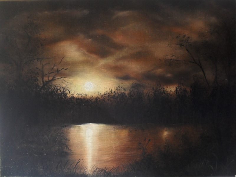 In the Night, brown rusty sky behind a brown and rusty lake at night oil painting on black canvas, 40x30cm. by lia van elffenbrinck artist