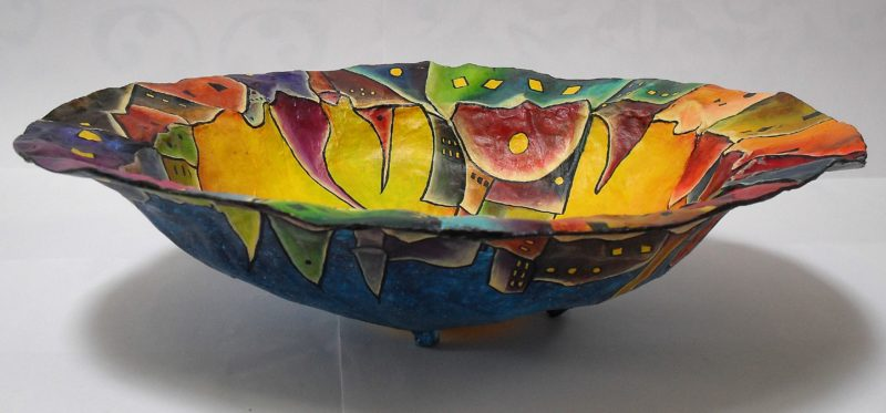 Little Town in the Bowl. Bowl made of paper mache, painted with acrylics, varnished with yacht varnish art by lia van Elffenbrinck