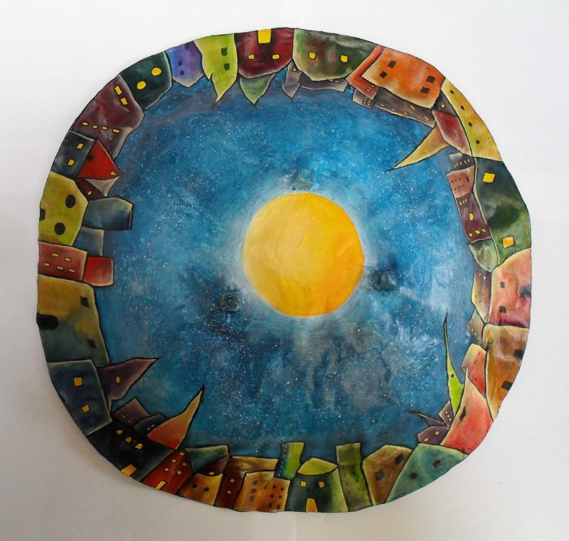 Bowl made of paper mache, painted with acrylics, varnished with yacht varnish art and design by lia van Elffenbrinck. I love to paint colourful Cities, so I made a colourful City Bowl with a lightside and a darkside.