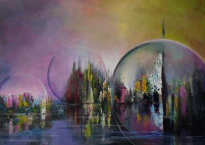 Living in a bubble, purple and yellow sky behind the purple water. Inbetween you see a few air bubbles containing fantasy cities, colourful abstract acrylic painting 70x50cm. by lia van elffenbrinck artist