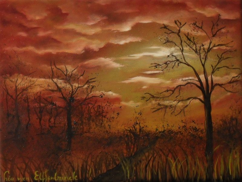 Morning has broken, Red clouds with sun rising in a yellow sky, brown trees and grass in the front, oil painting on canvas, 24x18cm by Lia van Elffenbrinck artist.