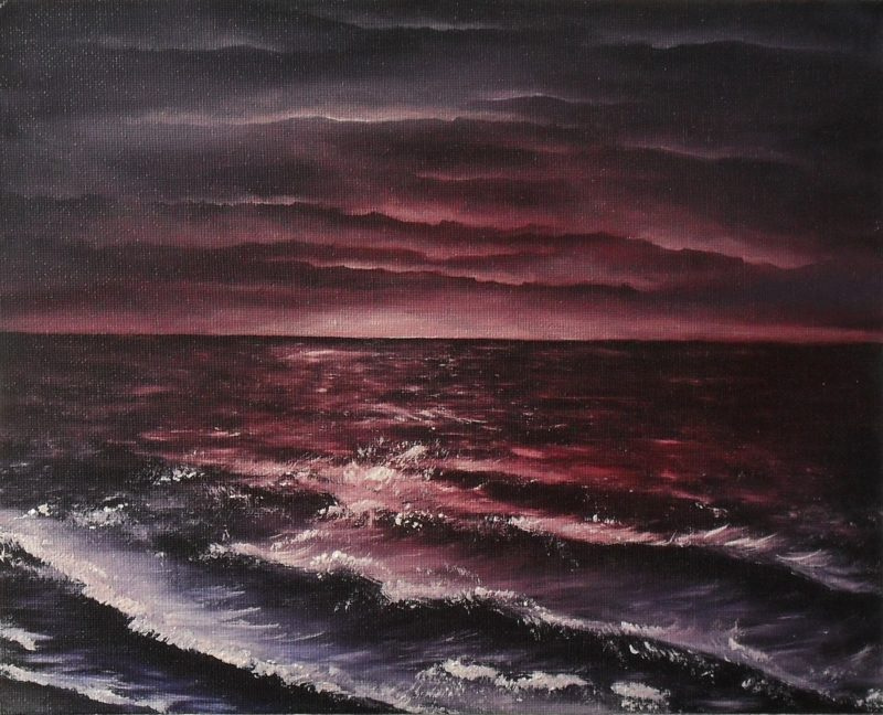 Ocean seperates land not souls, dark red horizon washing into purple clouds, the ocean also is red and purple, oil painting by lia van elffenbrinck painter
