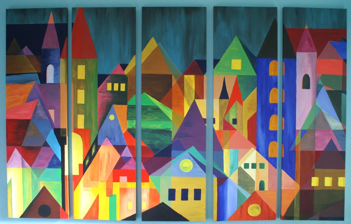 Ode to Feininger gouache painting of a colourful city, you see various buildings in all shapes and colours by Lia van Elffenbrinck. I made this painting as an hommage to Lional Feininger