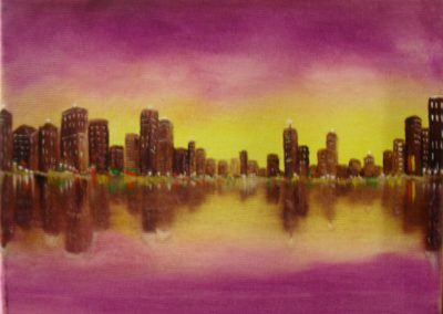 Purple city. Oil painting on canvas, 18x13cm. It is a yellow with purple sky behind a brown city. In the front you see water, where the sky and the city are reflecting their colours. By Lia van Elffenbrinck painter.