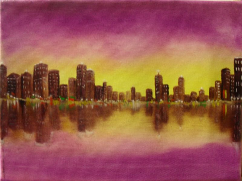 Purple city. Oil painting on canvas, 18x13cm. It is a yellow with purple sky behind a brown city. In the front you see water, where the sky and the city are reflecting their colours.