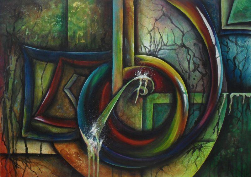 Resonance, abstract colourful painting of a clef on angular and circular shapes. 70x50cm. by Lia van Elffenbrinck