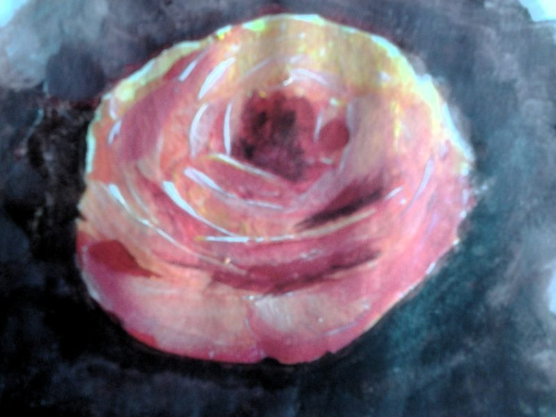 Pink Rose flower painting on paper of a pink rose