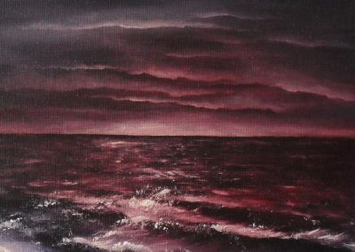 Ocean seperates land not souls, dark red horizon washing into purple clouds, th ocean also is red and purple, oil painting