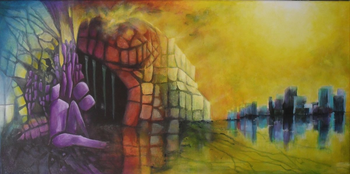"""You may say I'm a dreamer"" Colourful abstract painting of people who are dreaming of the promised land. On the left you can see a prison or a cave with purple people being lazy. On the right you see a big city which they dream of ,on canvas, 100x50cm by Lia van Elffenbrinck"