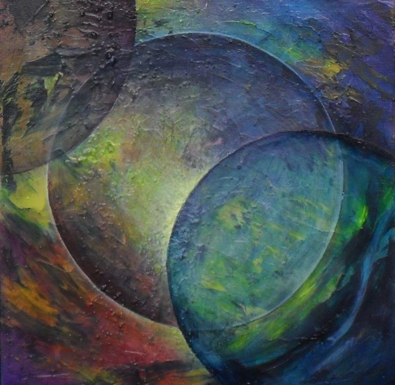 Blue Moon. Abstract textured painting of a moon and some planets by Lia van Elffenbrinck artist
