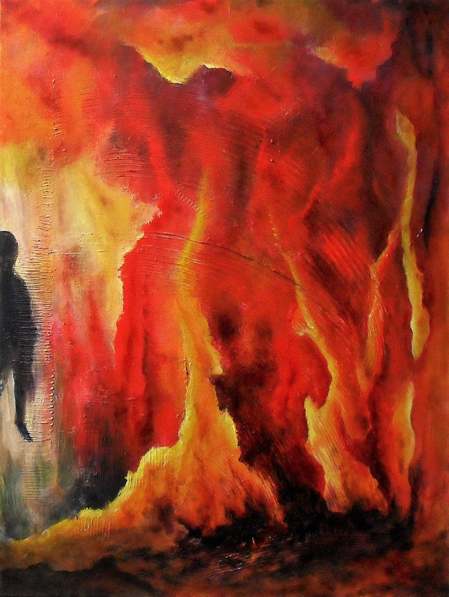 Fire of Life abstract painting red and yellow fire all over the canvas, black shadow on the left is watching, 60x80cm. by Lia van Elffenbrinck artist