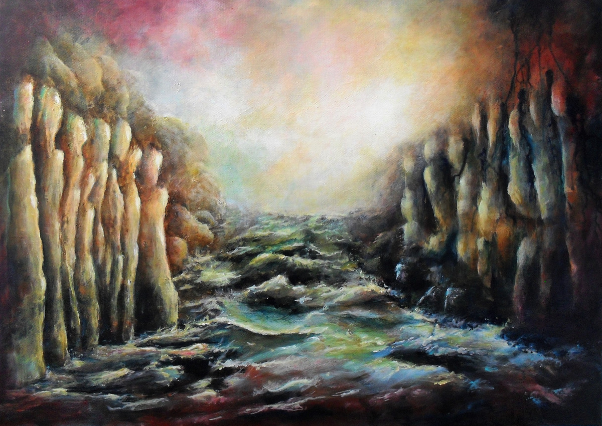 Abstract painting about people who can not reach eachother, but find the other side very attractive. Inbetween is a wild river with rocks, 70x50cm. made by Lia van Elffenbrinck
