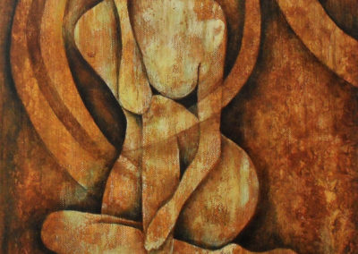 Precarious painting of a nude female figure on canvas 30x40cm. The colours are brown sienna and yellow. The woman is sitting on the ground. Her hair is very long and makes shades on her body. Lia van elffenbrinck