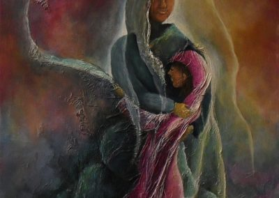 Safe and Sound figurative painting of a madonna with a child in her arms. The colours are pink grey and yellow. You see some silhouettes of hidden figures, canvas 40x60cm. by Lia van Elffenbrinck