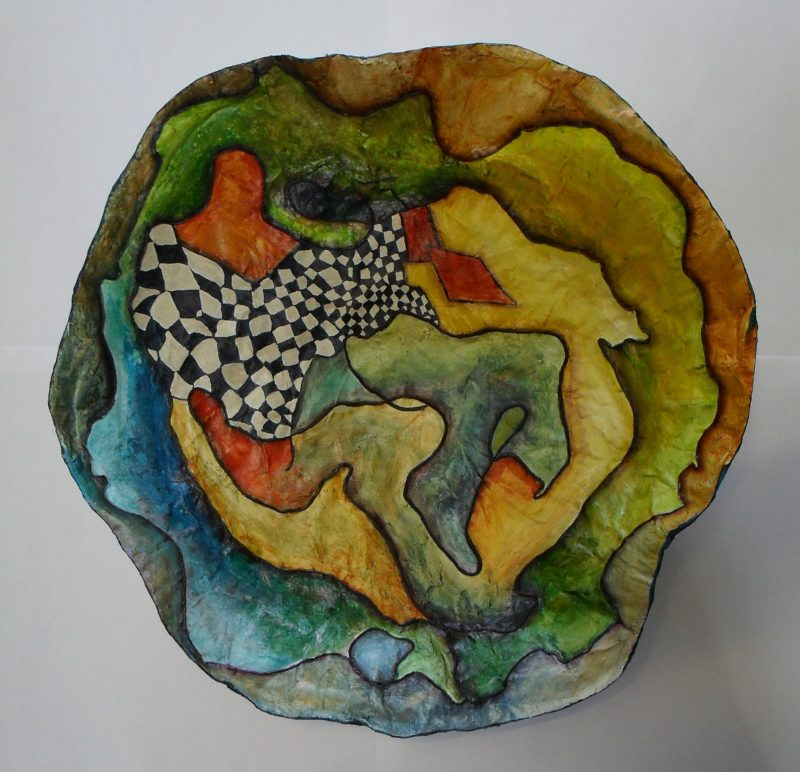 Bowl made of paper mache, painted with acrylics, varnished with yacht varnish art by lia van Elffenbrinck