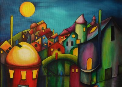 Silence on an Sunday Morning fantasy painting of a city in all colours, dark blue sky with a yellow moon. The houses have different colours and shapes, it is as if they are looking at you, on canvas 50x40cm. by Lia van Elffenbrinck