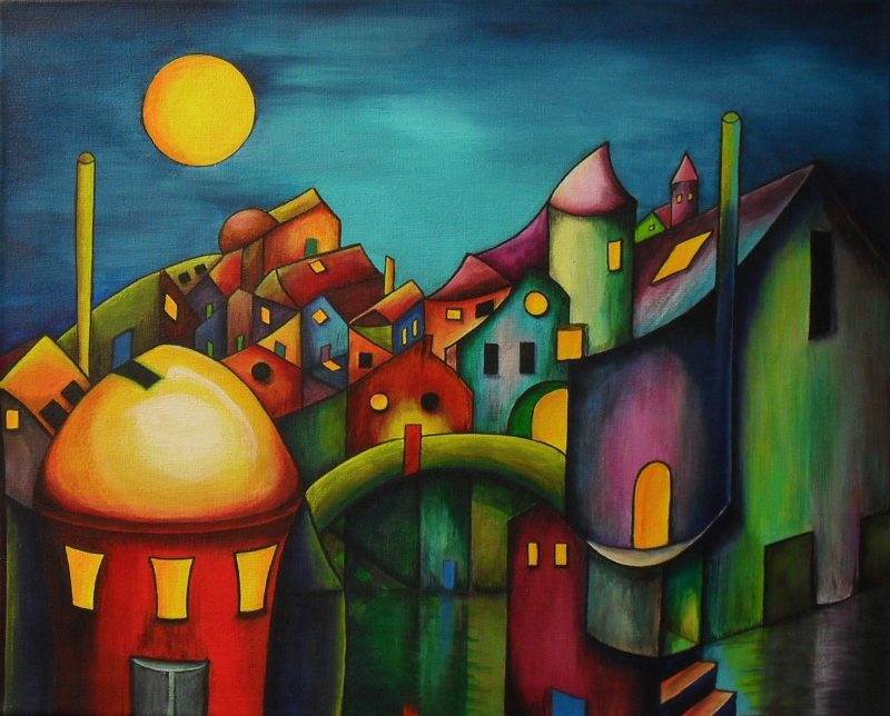 Silence on an Sundy Morning fantasy painting of a city in all colours, dark blue sky with a yellow moon. The houses have different colours and shapes, it is as if they are looking at you, on canvas 50x40cm. by Lia van Elffenbrinck
