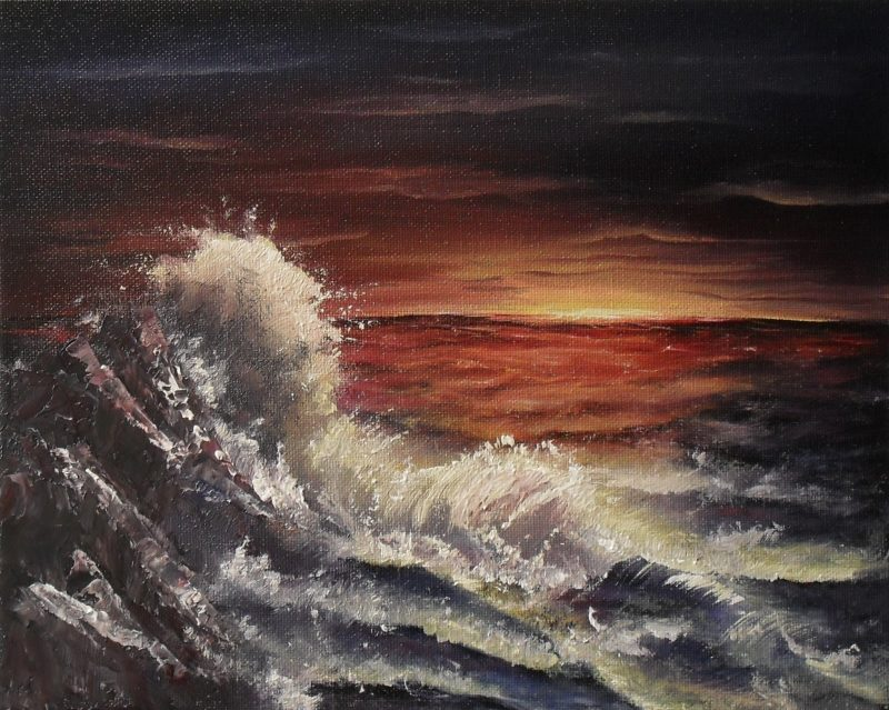 Smell the sea, yellow sun coming up in the orange red and purple sky, orange red sea with splashing water on rocks on the left, oil painting on 30x24cm. canvas by Lia van Elffenbrinck