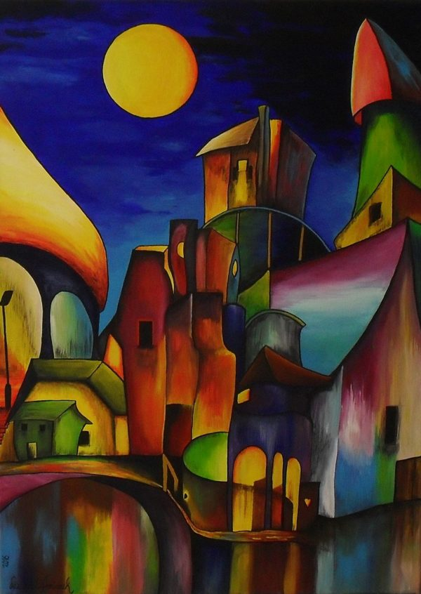 Confused City. Gouache painting of a colourful city at night with a full yellow moon shining on the roofs. In the front there is water and a bridge. The colours of the buildings are reflecting in the water. canvas 50x70cm.