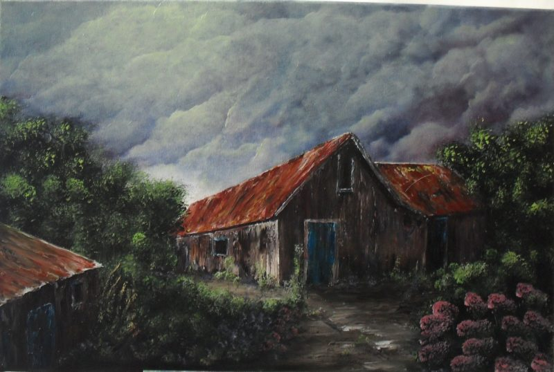 Storm coming up, Stormy clouds in grey purple and blue above an old house and two barns on both sides. The walls are made of wood, Roofs are red sienna with turqoise blue doors, There is no glass in the windows anymore. In the front you sea flowers like hydrangea and digitalis. oil painting on canvas, 60x40cm. by Lia van Elffenbrinck artist