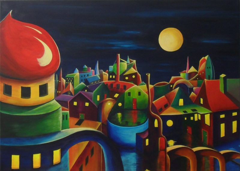 The Glow of Evening Fantasy painting of a village at night full of colours. The sky is dark blue and the yellow moon is shining on the weird lovely city. The big tower on the left with it's red roof looks like a tea pot, in the front there is water with a yellow brown bridge, Canvas 70x50cm. by Lia van Elffenbrinck