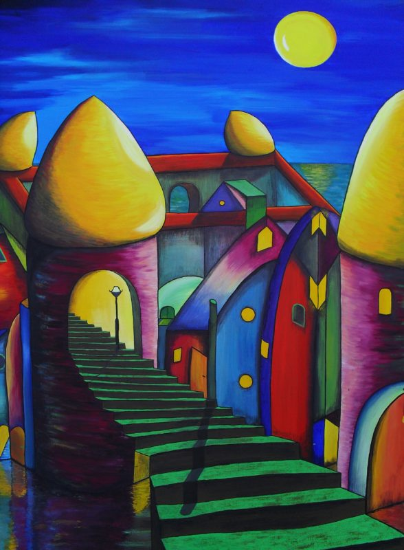 The Towers. Gouache painting on canvas of a colourful castle with four purple towers with yellow roofs and big green brown stairs leading into one of the towers. By Lia van Elffenbrinck artist.