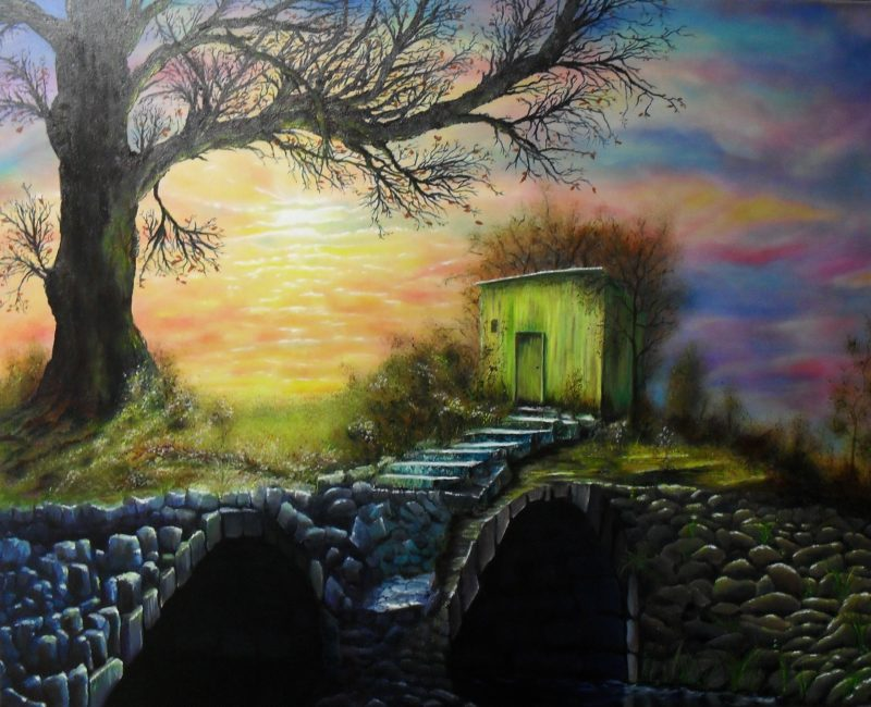 Golden Hour, Oil painting of a big tree in front of colourful sunset with two black tunnels in the front, a stair of stones leads to a yellow green barn by lia van elffenbrink artist