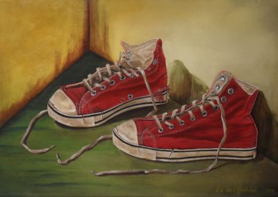 Took off my old Shoes to walk on a new Path Realistic painting of a pair of old worn out red shoes with long sleeves, canvas 60x40cm. by Lia van Elffenbrinck