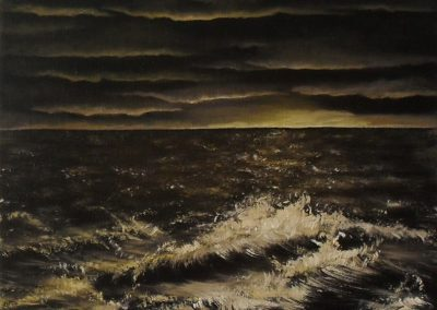 Water Water Everywhere oil painting on black canvas 30x24cm. Sea Shore in brown and yellow by Lia van Elffenbrinck