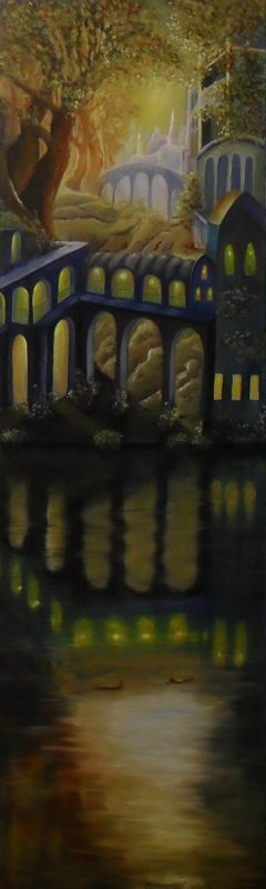 When Two Wonders Happen At The Same Moment. The yellow sun is shining on a white fairy tale castle through the tree leaves of august, in the foreground a blue and yellow fantasy building is reflecting in the water like a mirror. oil painting on canvas, 30x100cm. by lia van elffenbrinck