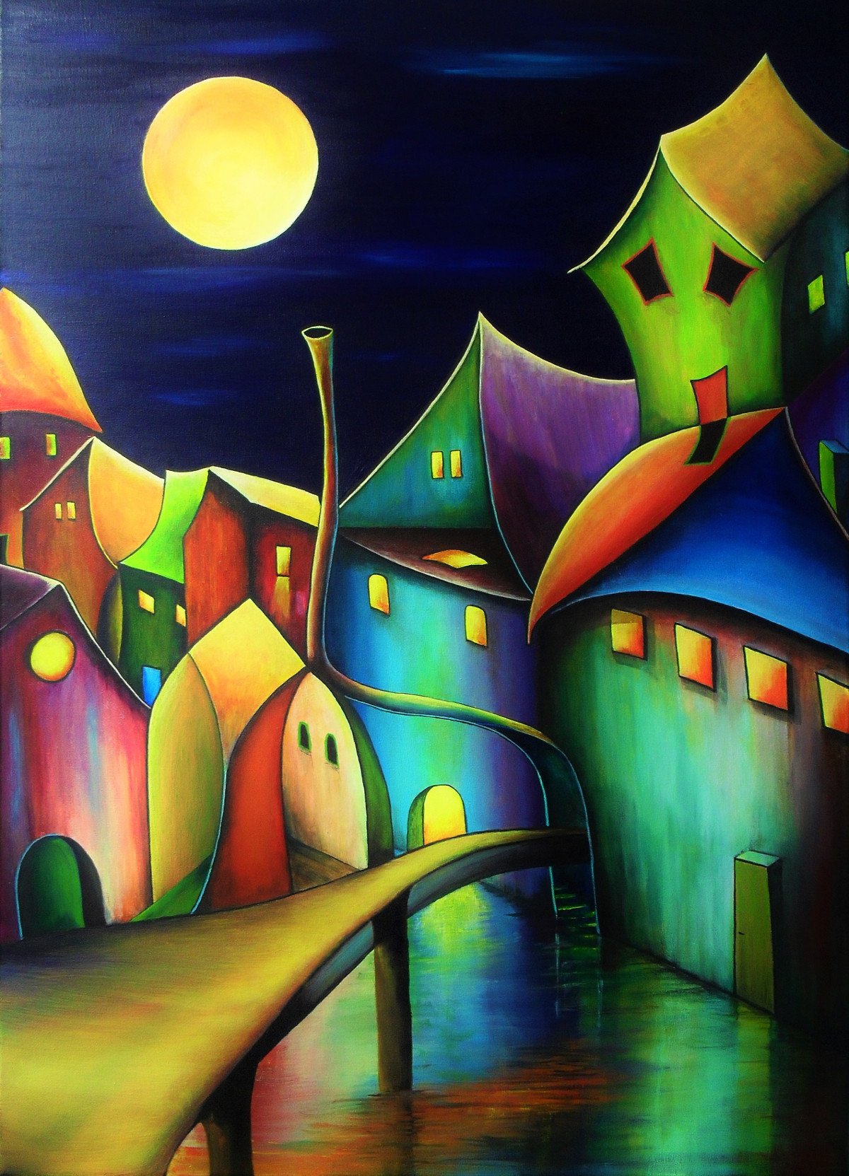 You are not alone. Fantasy painting of a village at night full of colours. The sky is dark blue and the yellow moon is shining on the weird lovely houses which are standing in the water. In most of the houses the light is on