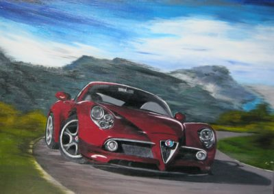 Alpha Romeo realistic painting of a red Alpha Romeo driving very fast on a curvy road in the mountains, canvas 40x30cm. by Lia van Elffenbrinck