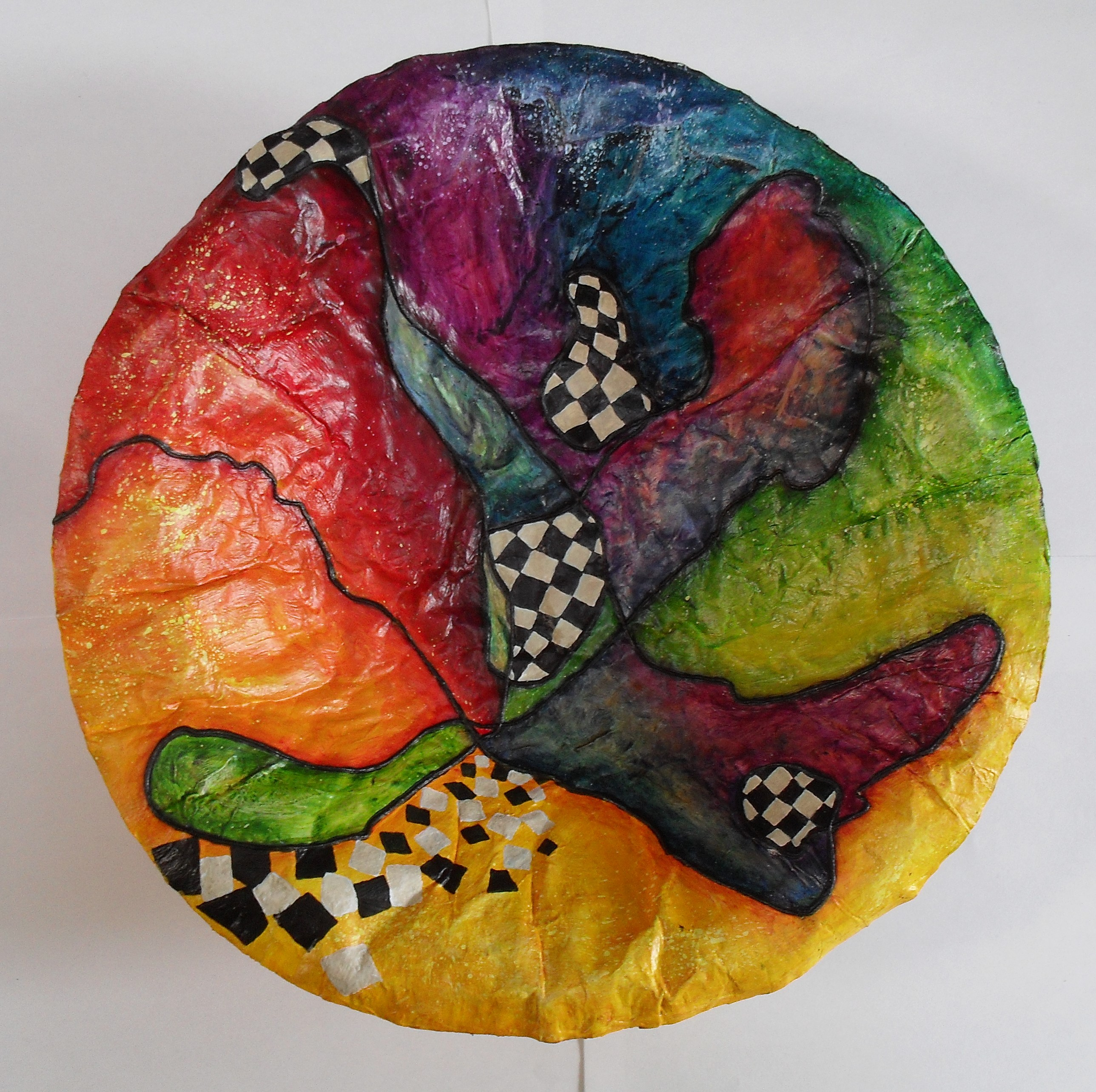 Bowl made of paper mache, painted with acrylics, varnished with yacht varnish art and design by lia van Elffenbrinck