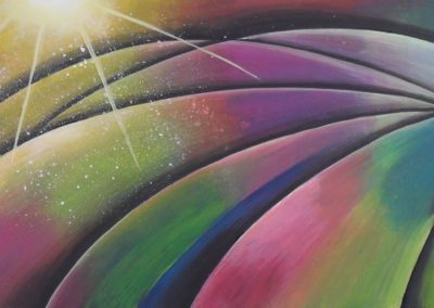 Balloon Ride painting of the colours of a hot air balloon, I made this painting after I joined a balloon ride, canvas, 100x30cm. by Lia van Elffenbrinck