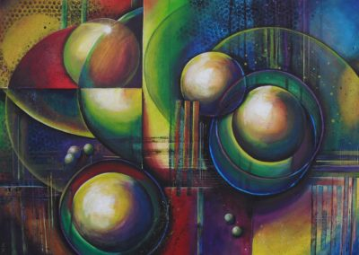 How many Moons Very colourful abstract acrylic painting about spheres, planets and moons, with horizontal and vertical lines and shadows I was looking at https://www.youtube.com/watch?v=D1zuAQAhhMI when I was painting this piece: How many Moons does Earth have?. by Lia van Elffenbrinck
